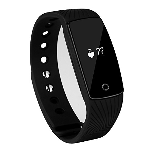 Semaco Smart Bracelet Bluetooth Fitness Tracker Health Heart Rate Sleep Monitor Pedometer Activity Tracker Sports Wristband for Android and iOS Smartphones (Black)