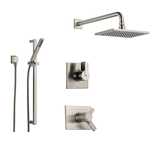Delta Vero Stainless Steel Shower System with Thermostatic Shower Handle, 3-setting Diverter, Large Square Rain Showerhead, and Modern Handheld Shower SS17T5384SS Delta Faucets
