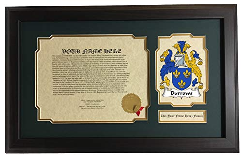 (Burrows - Coat of Arms and Last Name History, 14x22 Inches Matted and Framed )