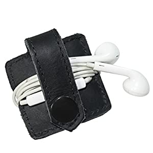Durable Leather Headphone Wrap With Snap Handmade By Hide & Drink :: Charcoal Black