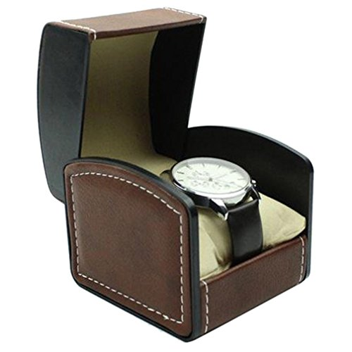 Lanscoe Watch Box Single Slot PU Leather Wristwatch Display Case Bracelet Jewelry Holder Storage Organizer with Cushion for Men Women (Coffee) ()