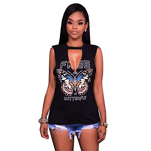 Women Girls Stylish Summer Choker Neck Cut Out Butterfly Printed Burn Out Tees Tunic Top Basic T-shirts Club Dress Black M ()