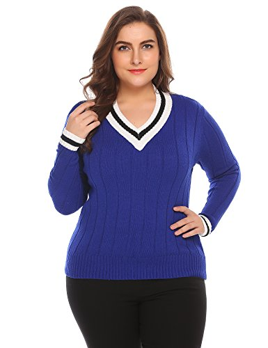 (IN'VOLAND Involand Plus Size Women's Cable Knit Sweater Casual V Neck Long Loose Pullover (16W -)