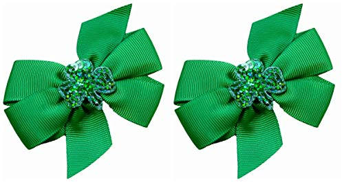 Set of 2 Shamrock St. Patrick's Day Toddler Hair Bows (1.75 inch Alligator Clips (All Hair Types), Emerald)]()