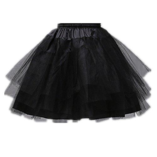 Girls 3 Layers Wedding Flower Girl Petticoat ,Black,Large