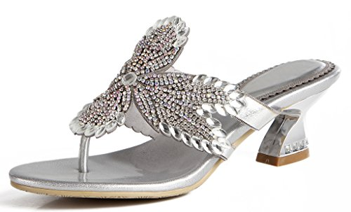 - jiandick Womens Crystal Stud Thongs Sandals Slingback Chunky Heel Dress Slide Sandals