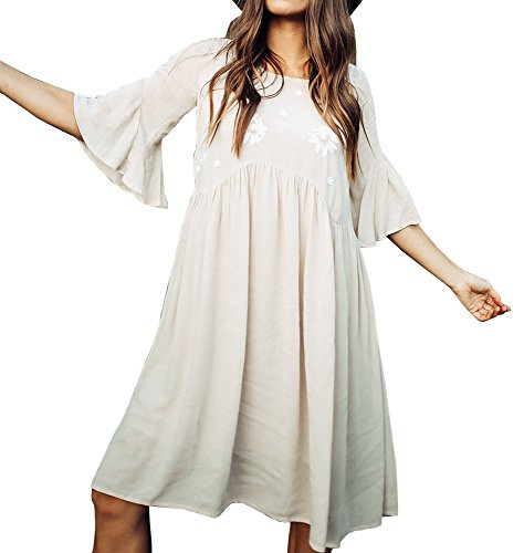Faisean Women Embroidered Floral Bohemian 3/4 Bell Sleeve Vintage Mexican Casual Swing Tunic Midi Dress (X-Large, ()
