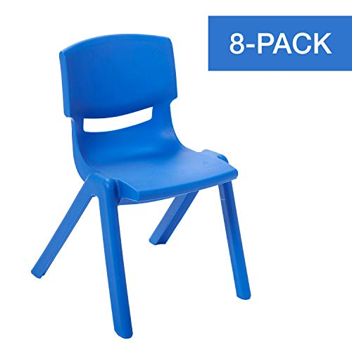 ECR4Kids 14 inch Plastic Stackable Classroom Chairs, Indoor/Outdoor Resin Stack Chairs for Kids, Blue -