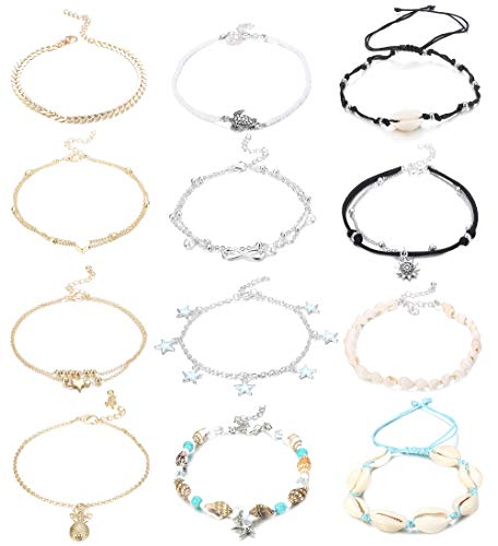 Jstyle 12Pcs Handmade Starfish Turtle Anklet Bracelets for Women Girls Adjustable Charm Anklets Boho Ankle Chains Foot…