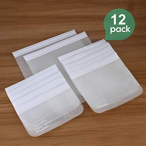 SPLF 12 Pack UPGRADED Dishwasher Safe Reusable Storage Bags (5 Sandwich Bags, 5 Snack Bags, 2 Gallon Bags), BPA Free Freezer Safe Leakproof Silicone and Plastic Free Lunch Bags Food Storage