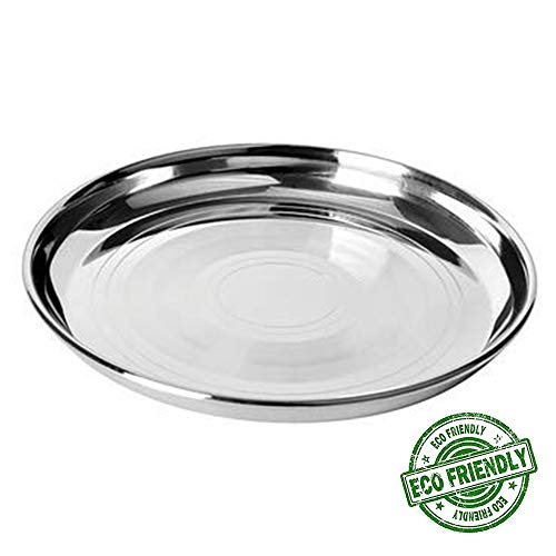 Plate Steel Stainless Serving (Stainless Steel Round Strip Design Plates, Thali Dinnerware for Indian Food and Dishes, kitchenware Plate Organizer Silver Color Size 11 X 11 Inch, Easter Day/Mothers Day/Good Friday Gift)