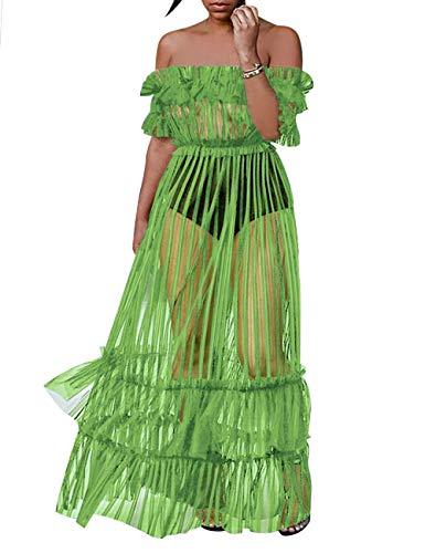 (XAKALAKA Women's Sexy Lace Off Shoulder High Wasit Flared Mesh Club Maxi Dress S-XXXL Light-Green)
