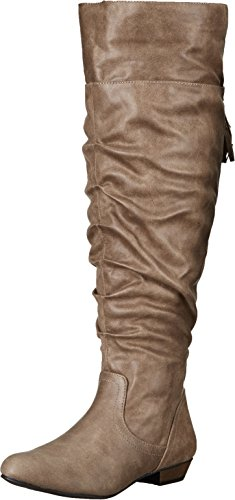 - Fergalicious Women's Rookie Wide Calf Slouch Boot, Taupe, 9 M US