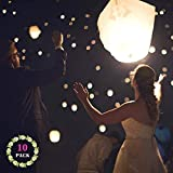 Chinese Paper Lanterns Place White Paper Lanterns (Pack of 10) - Great Chinese/Japanese Home, Party & Wedding Decorations by DGSING