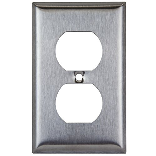 Enerlites 7721 Duplex Stainless Steel Wall Plate, 1-Gang Standard Size, Unbreakable Metal Alloy, Electrical Outlet Socket Light Switch Receptacle Cover
