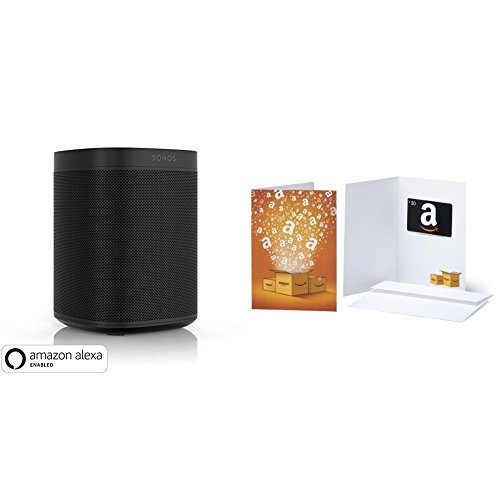 All-new Sonos One with $50 Amazon Gift Card – Smart Speaker with Alexa voice control built-in. Compact size with incredible sound for any room. (black)