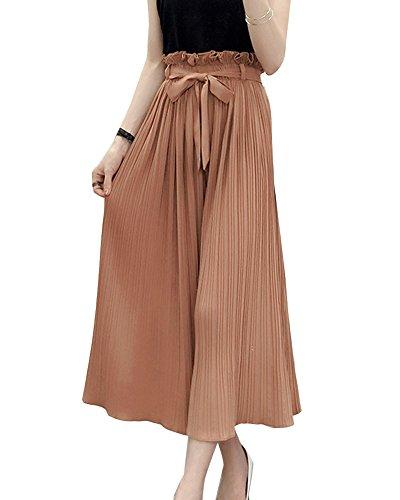 Pantalon Fluide Femme Taille Haute Ample Pantalon en Mousseline Dcontract Plisse Pantalon Large Kaki