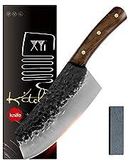 XYJ skivad kockkniv 7 tums smidd kinesisk kökskniv 5Cr15 rostfritt stål klyver serbiska knivar Full Tang non-stick bladknivar med whetstone