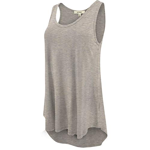 (LUVAGE Women's High Low Tank Top Tunic Shirts Loose Fit Oatmeal)