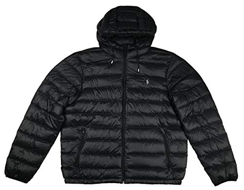 vendita calda online 7d261 42f7b Polo Ralph Lauren Men's Hooded Down Jakcet, Packable (XL, Black)