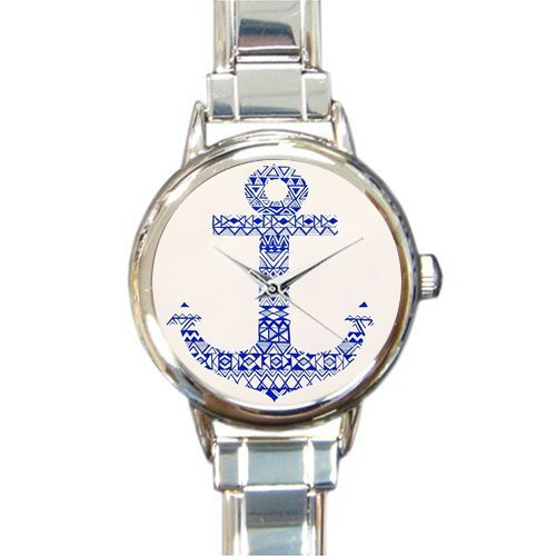Christmas Day Gift Cool Anchor Art Design Round Italian Charm stainless steel Watch