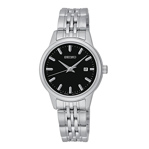 Seiko Quartz Black Dial Silver Plated Stainless Steel Women's Watch SUR835 (Kinetic Military Seiko)