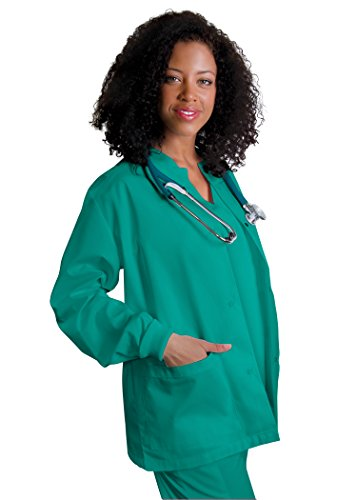 Adar Universal Round Neck Warm-Up Jacket (Available in 39 colors) - 602 - Surgical Green - S