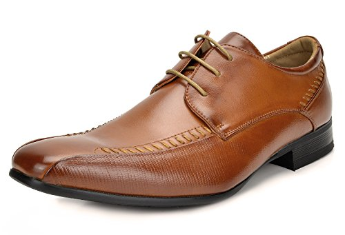 Bruno Marc Men's Gordon-01 Brown Classic Modern Formal Oxfords Lace Up Leather Lined Snipe Toe Dress Shoes - 8 M US (Perforated Lace Leather Shoes Up)