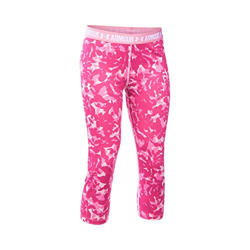 Under Armour Girls' HeatGear Armour Printed Capri, Pink/Pink, Youth Large