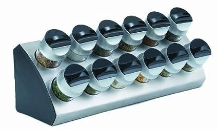 Trudeau TC0718043 - Especiero acero inoxidable, 12 recipientes, color negro: Amazon.es: Hogar