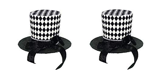 PAIR! Christmas Black & White Harlequin DERBY TOP HATS 7