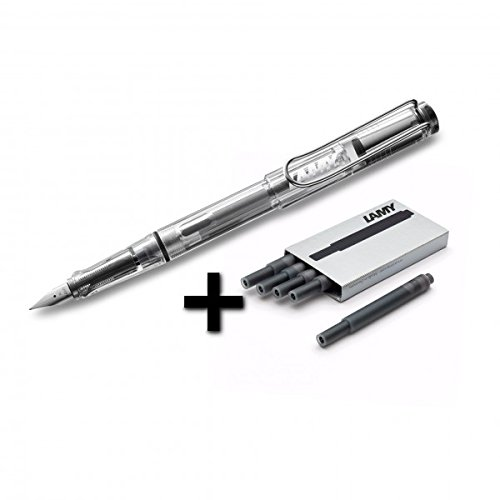 Lamy Vista Fountain Pen (12M) Transparent & 5 Black Ink (Lamy Vista Fountain Pen)