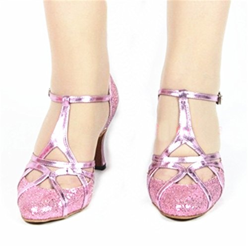BYLE Sandalias de Cuero Tobillo Modern Jazz Samba Zapatos de Baile Zapatos de Baile Latino de Adultos de Verano Tira Zapatos Zapatos de Baile Latino Rosa Onecolor