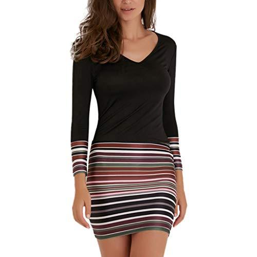 - Usstore Womens Striped Patchwork Mini Dress Fall Sexy V-Neck Long Sleeve Dress Evening Party Ultrashort Slim Work Dress (XXL, Black)