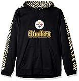 NFL Pittsburgh Steelers Slub Hoodie Pullover with Zebra Sleeves , Team Color, Large