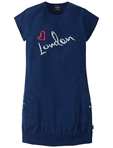 Schiesser Mädchen Nachthemd Sleepshirt 1/2, Gr. 140, Blau (dunkelblau 803)