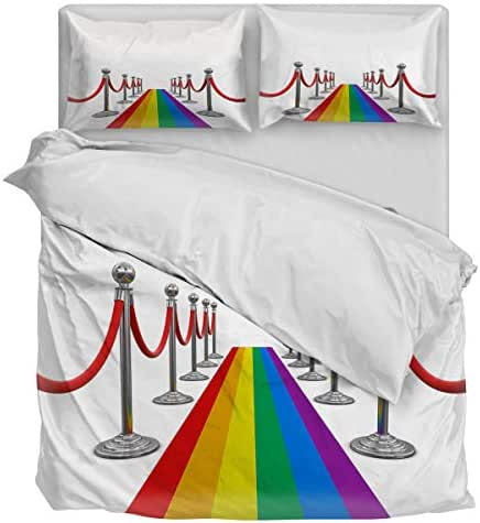 Fantasy Staring 4 Piece Bedding Sets Duvet Cover Queen, Ultra Silky Soft Bedding Collection- Conference Party Rainbow Blanket with Zipper Closure and Corner Ties