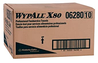 """Kimberly-Clark Wypall X80 Hydroknit Foodservice Towel, 23-25/64"""" Length x 12-1/2"""" Width, White with Blue Stripe (Case of 150 Towels)"""