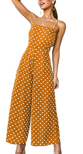 ULIAN Women's Polka Dot Holiday Long Jumpsuit Wide Leg Pants Backless Strappy Playsuit Sexy Trousers(Yellow,XL)
