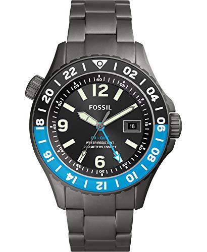 Fossil FB-02 Mens Diving Gunmetal-Tone Titanium Bracelet Black Dial Analog Watch