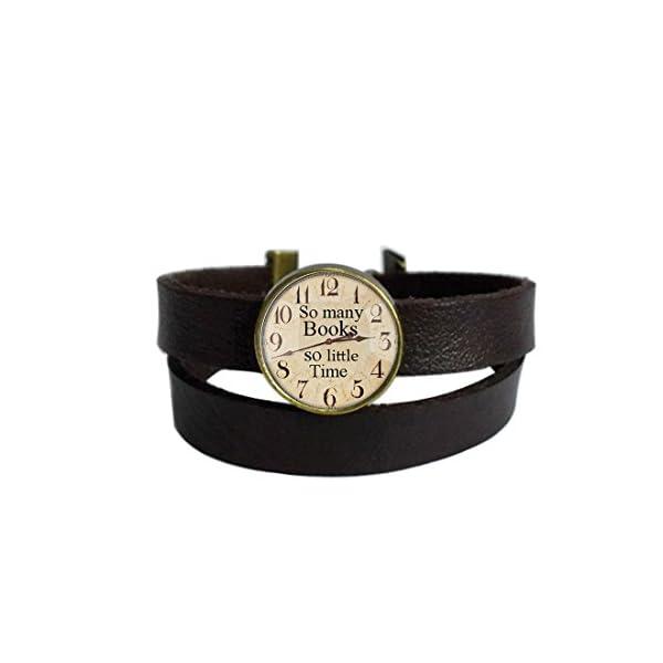 LooPoP Vintage Punk Dark Brown Leather Bracelet Retro Clock Belt Wrap Cuff Bangle Adjustable 3