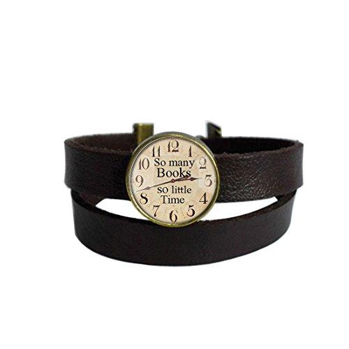 LooPoP Vintage Punk Dark Brown Leather Bracelet Retro Clock Belt Wrap Cuff Bangle Adjustable