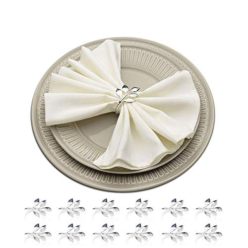 (HSCC666 Napkin Rings Set of 12 - Silver Leaf Napkin Ring Holders for Wedding, Party, Holiday, Dinner Decor Favor)
