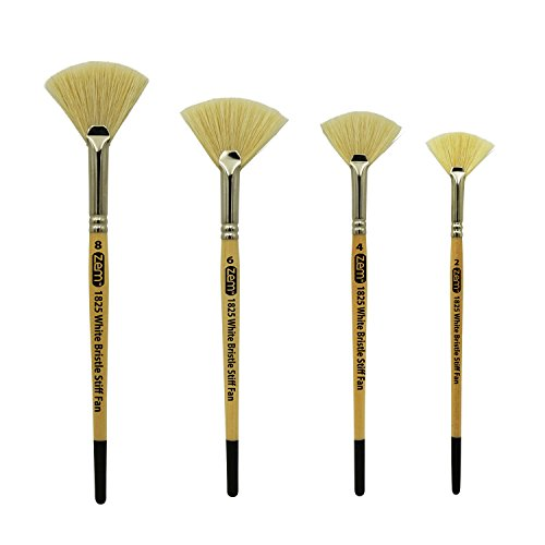 ZEM BRUSH White Bristle Stiff Fan Brush Set Size -