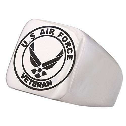 Dacai Well Polished Engraved United States Air Force Veteran Military Mens Logo Stainless Steel Ring (Us Air Force Ring)