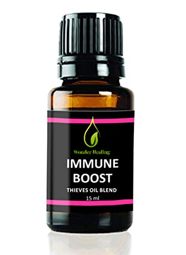 Immune Boost (comparable to Thieves Oil) 100% Natural Germ Fighter Essential Oil Blend Clove, Cinnamon, Lemon, Rosemary & Eucalyptus, by Wonder Healing (15 ml)