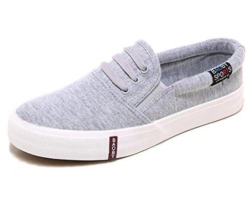 NVXIE Señora Zapatos Un Pedal Perezoso Zapatos Lienzo Movimiento Cómodo Ocio Estudiantes Escuela Compras Diario grey