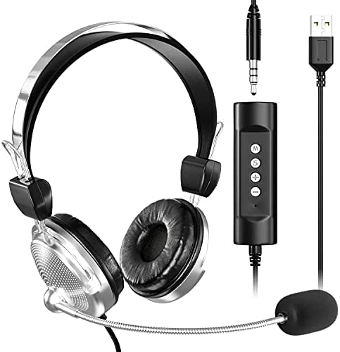 USB Computer Headset with Microphone for laptop, [2021 Upgraded] Newaner 3.5mm Retractable Noise Cancelling, Lightweight Wired Headphones, Business PC Headset for Skype, Webinar, Call Center, School