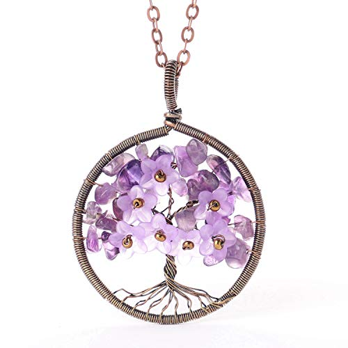 (sedmart Tree of Life Necklace Gift Amethyst Gemstone Leaf with Resin Lilac Flowers Family Tree Wire Wrapped Pendant)