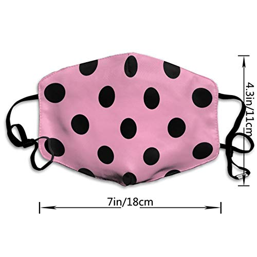 AllCOVER Mouth Mask, Unisex Face Mask Washable Anti Dust Mouth Face Mask for Teens Men and Women (Polka Dot Pink)